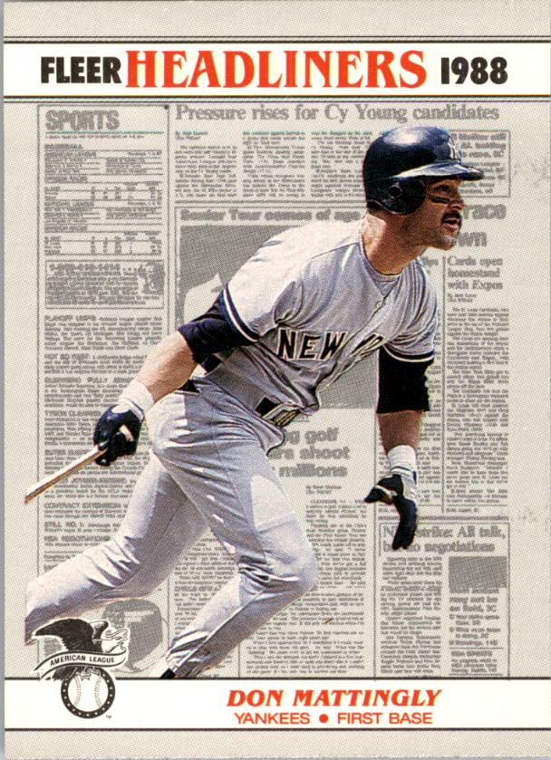 1988 Fleer Headliners Baseball Cards   001       Don Mattingly